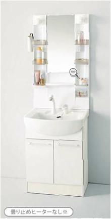 ■1面鏡(クリアトレー)/電球型蛍光灯 /シングルレバーシャワー水栓(ホワイト)/両開きタイプ