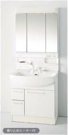 収納3面鏡/蛍光灯 /シングルレバーシャワー水栓(ホワイト)/引き出しタイプ