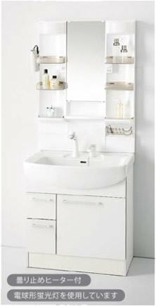 収納1面鏡(クリアトレー)/蛍光灯 /シングルレバーシャワー水栓(ホワイト)/引き出しタイプ